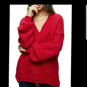 NWT FREE PROPLE ALL MINE RASSBERRY SWEATER